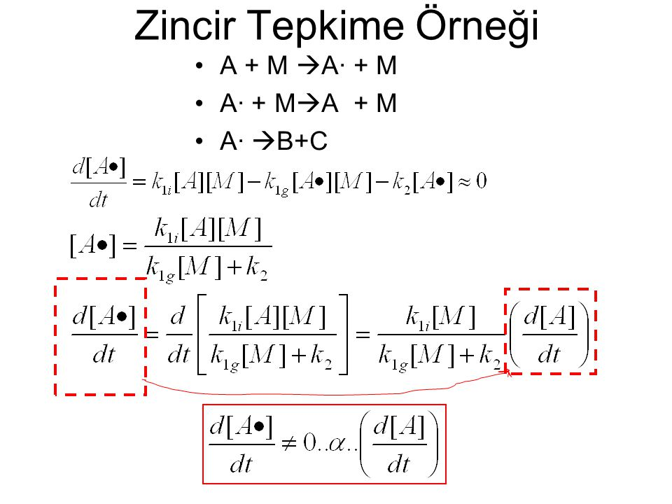 Zincir Tepkime Örneği A + M  A· + M A· + M  A + M A·  B+C