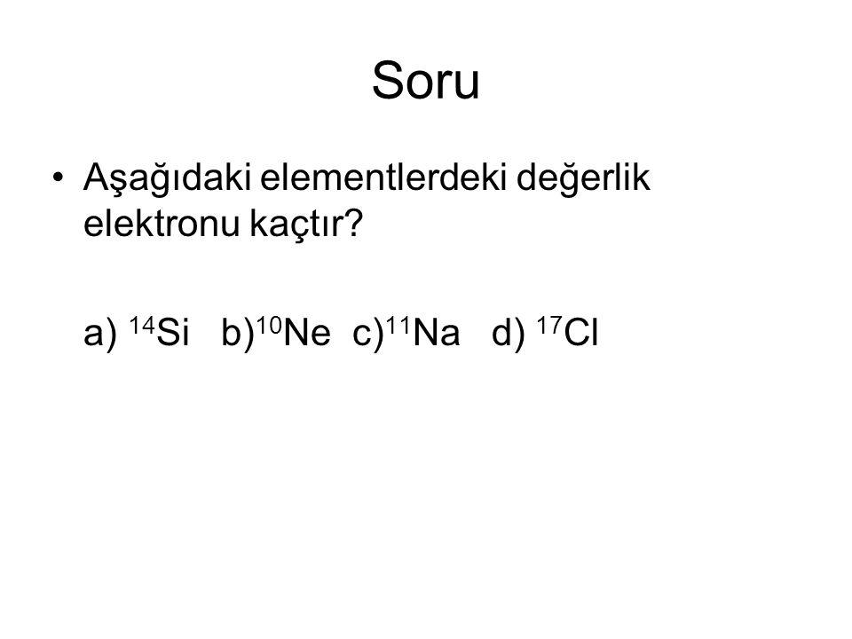 Soru Aşağıdaki elementlerdeki değerlik elektronu kaçtır? a) 14 Si b) 10 Ne c) 11 Na d) 17 Cl