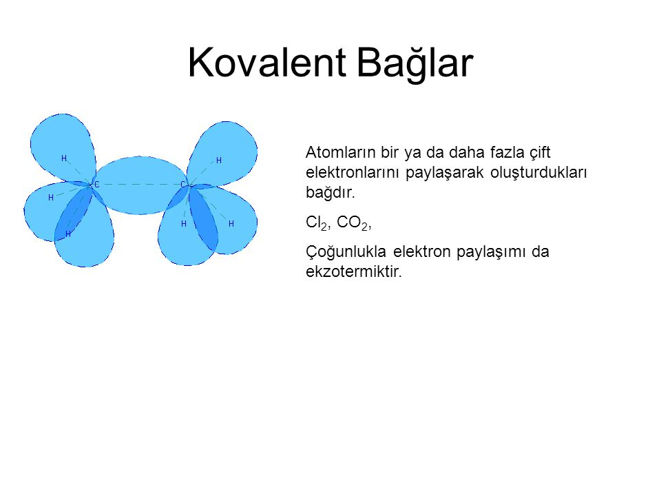 Kovalent Bağlar Atomların bir ya da daha fazla çift elektronlarını paylaşarak oluşturdukları bağdır. Cl 2, CO 2, Çoğunlukla elektron paylaşımı da ekzo
