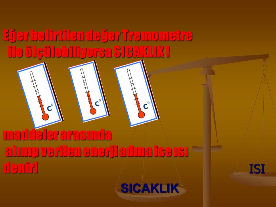 SICAKLIK ISI Eğer belirtilen değer Tremometre ile ölçülebiliyorsa SICAKLIK .