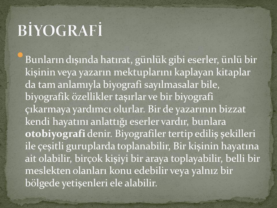 Biyografi türünün ilk büyük yazan olarak eski Yunan edebiyatında Plutarkhos kabul edilir.