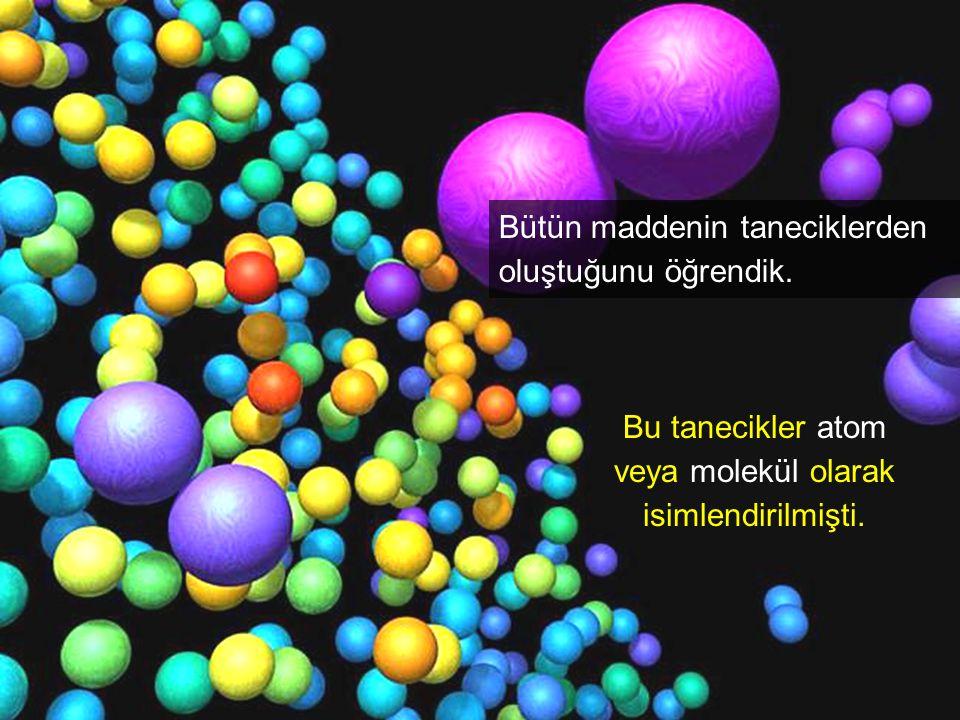 Bütün maddenin taneciklerden oluştuğunu öğrendik. Bu tanecikler atom veya molekül olarak isimlendirilmişti.