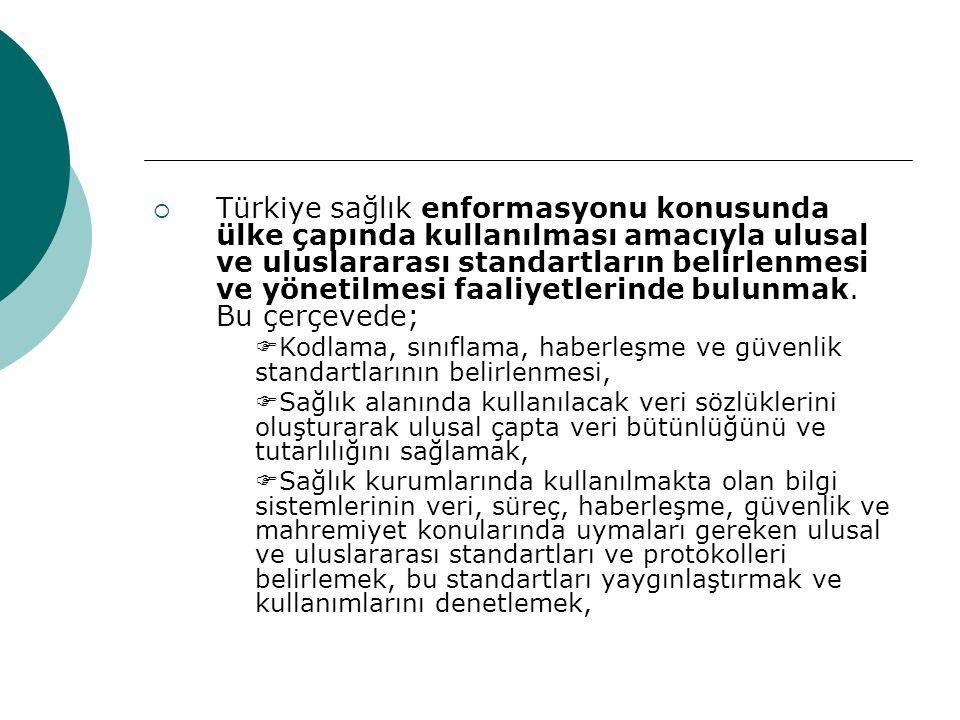  Türkiye sağlık enformasyonu konusunda ülke çapında kullanılması amacıyla ulusal ve uluslararası standartların belirlenmesi ve yönetilmesi faaliyetle
