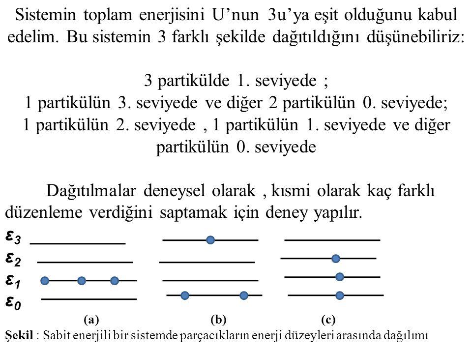 Sistemin toplam enerjisini U'nun 3u'ya eşit olduğunu kabul edelim. Bu sistemin 3 farklı şekilde dağıtıldığını düşünebiliriz: 3 partikülde 1. seviyede