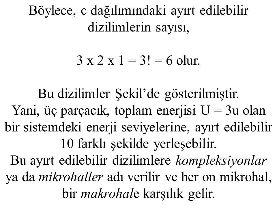 Böylece, c dağılımındaki ayırt edilebilir dizilimlerin sayısı, 3 x 2 x 1 = 3! = 6 olur. Bu dizilimler Şekil'de gösterilmiştir. Yani, üç parçacık, topl
