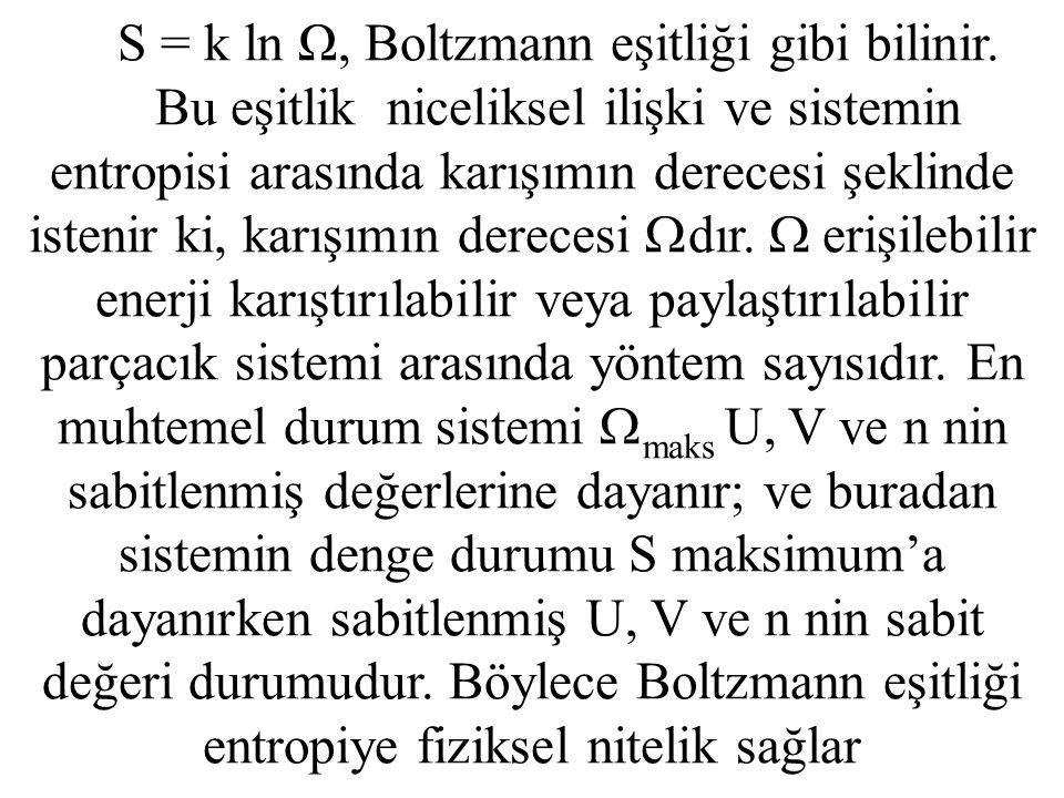 S = k ln Ω, Boltzmann eşitliği gibi bilinir. Bu eşitlik niceliksel ilişki ve sistemin entropisi arasında karışımın derecesi şeklinde istenir ki, karış