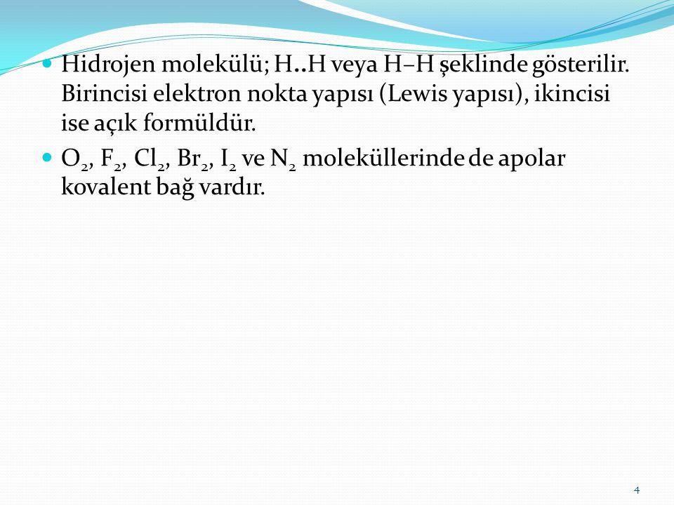 Hidrojen molekülü; H..H veya H–H şeklinde gösterilir. Birincisi elektron nokta yapısı (Lewis yapısı), ikincisi ise açık formüldür. O 2, F 2, Cl 2, Br