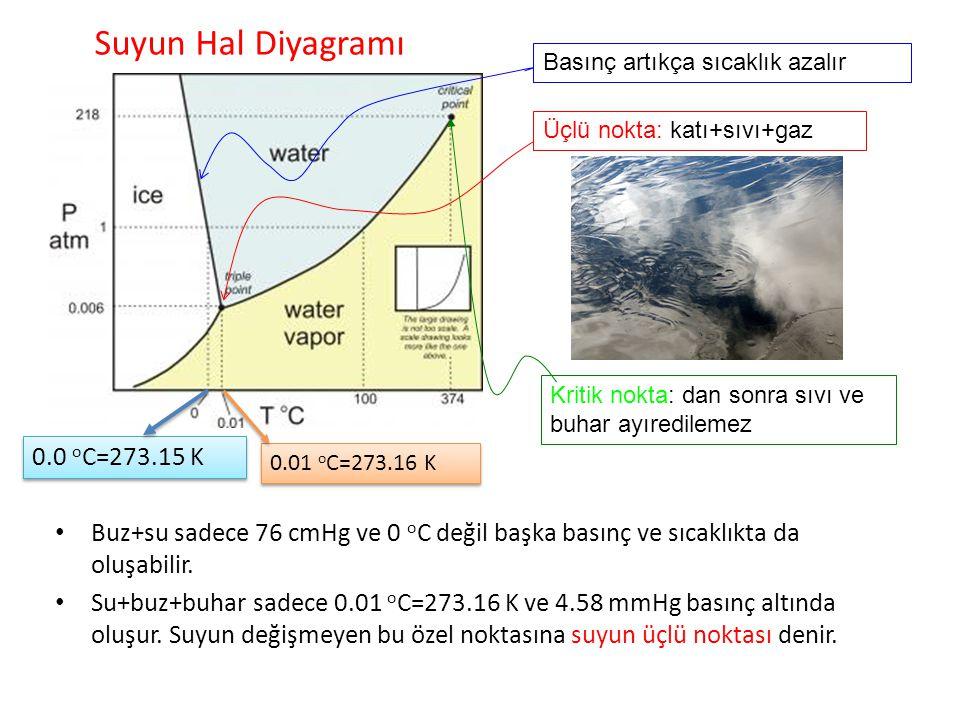 Suyun Hal Diyagramı Buz+su sadece 76 cmHg ve 0 o C değil başka basınç ve sıcaklıkta da oluşabilir. Su+buz+buhar sadece 0.01 o C=273.16 K ve 4.58 mmHg