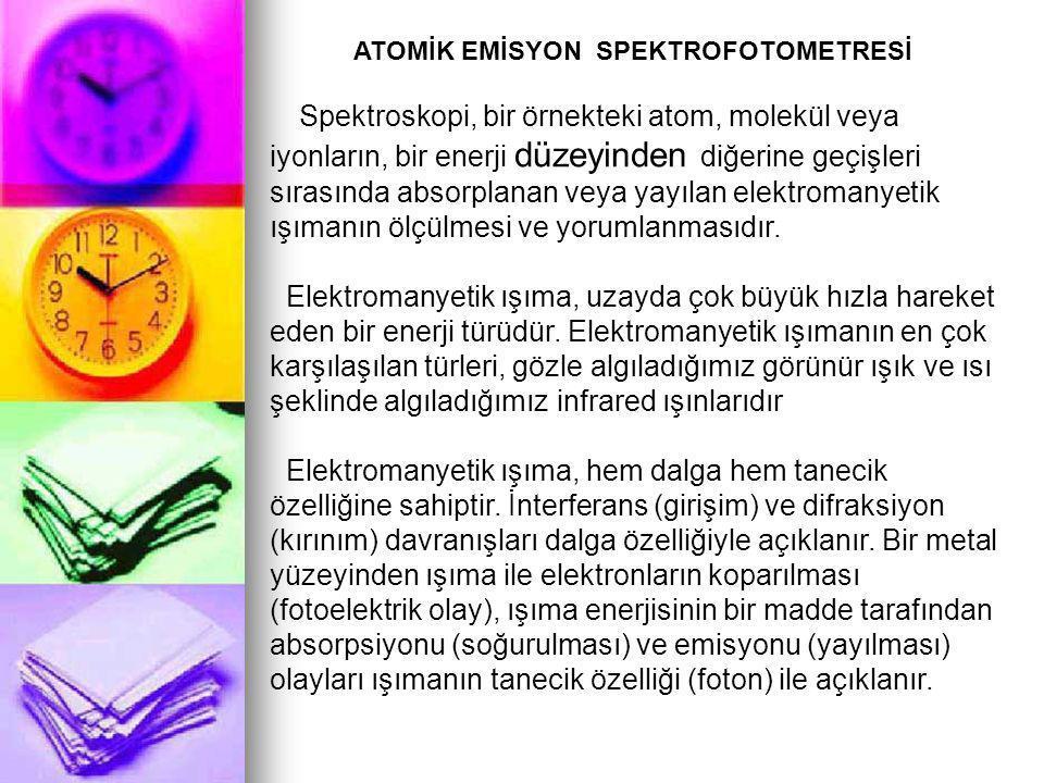 ATOMİK EMİSYON SPEKTROFOTOMETRESİ Spektroskopi, bir örnekteki atom, molekül veya iyonların, bir enerji düzeyinden diğerine geçişleri sırasında absorplanan veya yayılan elektromanyetik ışımanın ölçülmesi ve yorumlanmasıdır.