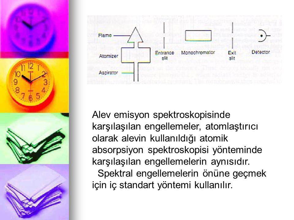 Alev emisyon spektroskopisinde karşılaşılan engellemeler, atomlaştırıcı olarak alevin kullanıldığı atomik absorpsiyon spektroskopisi yönteminde karşılaşılan engellemelerin aynısıdır.