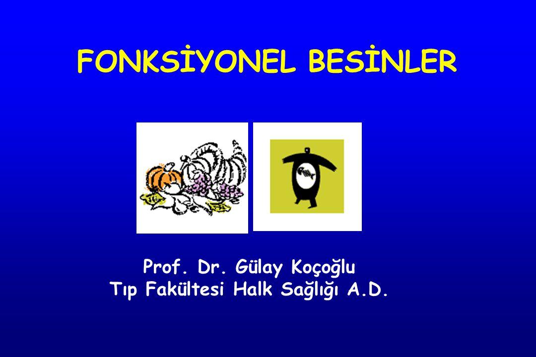 Bileşen Flavanol Epicatechin EGK E-3-gallate EGKG Mekanizma AOx, antimutajen Tümör oluşumu/gelişimi Karsinojen detox Apoptozis LDL-K oksidasyonu Platelet agregasyonu (Kalp, kanser) Besin Yeşil/siyah çay, Kakao/çikolata Flavonoidler Nutrition 2004;20:95-102 Biomed Pharmacother 2003;57:251-60 Am J Med 2002;113;S71-S88