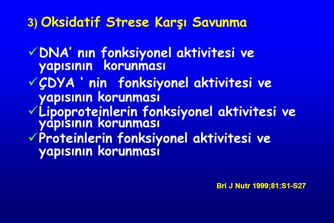 3) Oksidatif Strese Karşı Savunma DNA' nın fonksiyonel aktivitesi ve yapısının korunması ÇDYA ' nin fonksiyonel aktivitesi ve yapısının korunması Lipo