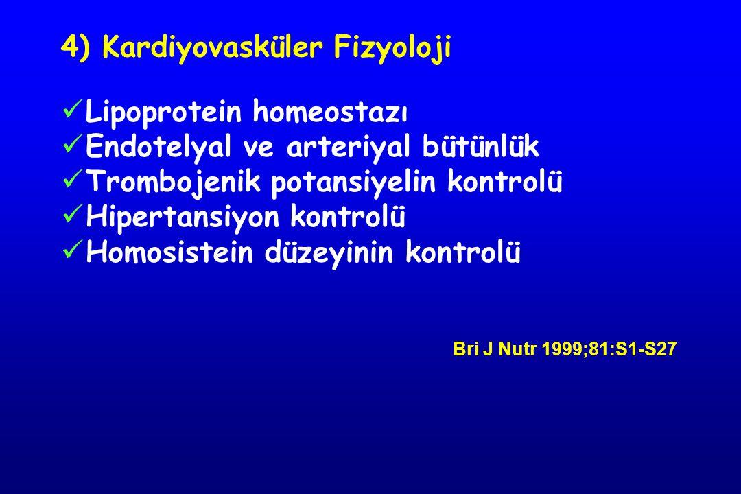 4) Kardiyovasküler Fizyoloji Lipoprotein homeostazı Endotelyal ve arteriyal bütünlük Trombojenik potansiyelin kontrolü Hipertansiyon kontrolü Homosistein düzeyinin kontrolü Bri J Nutr 1999;81:S1-S27