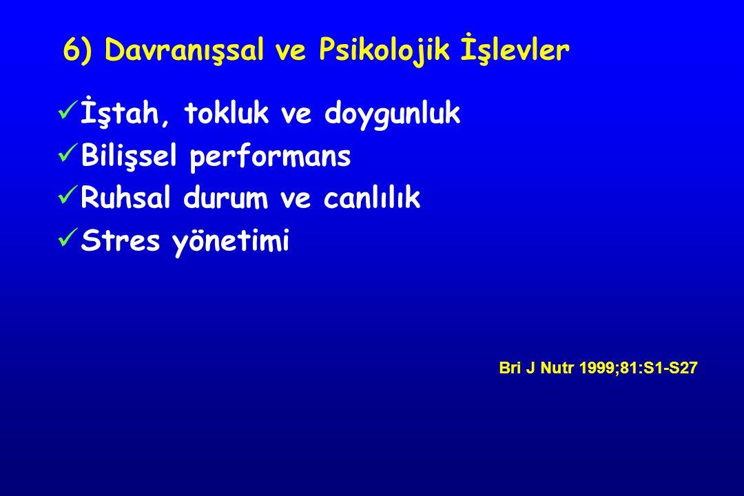 6) Davranışsal ve Psikolojik İşlevler İştah, tokluk ve doygunluk Bilişsel performans Ruhsal durum ve canlılık Stres yönetimi Bri J Nutr 1999;81:S1-S27