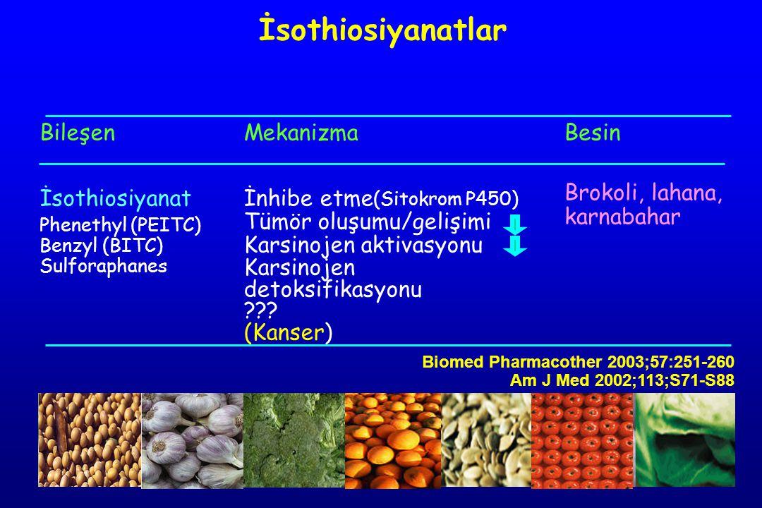 Bileşen İsothiosiyanat Phenethyl (PEITC) Benzyl (BITC) Sulforaphanes Mekanizma İnhibe etme (Sitokrom P450) Tümör oluşumu/gelişimi Karsinojen aktivasyo