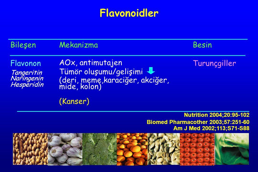 Bileşen Flavonon Tangeritin Naringenin Hesperidin Mekanizma AOx, antimutajen Tümör oluşumu/gelişimi (deri, meme,karaciğer, akciğer, mide, kolon) (Kanser) Besin Turunçgiller Flavonoidler Nutrition 2004;20:95-102 Biomed Pharmacother 2003;57:251-60 Am J Med 2002;113;S71-S88