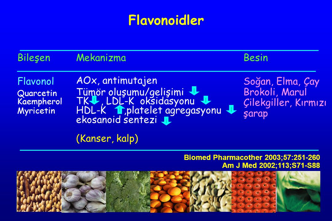 Bileşen Flavonol Quarcetin Kaempherol Myricetin Mekanizma AOx, antimutajen Tümör oluşumu/gelişimi TK, LDL-K oksidasyonu HDL-K,platelet agregasyonu ekosanoid sentezi (Kanser, kalp) Besin Soğan, Elma, Çay Brokoli, Marul Çilekgiller, Kırmızı şarap Flavonoidler Biomed Pharmacother 2003;57:251-260 Am J Med 2002;113;S71-S88