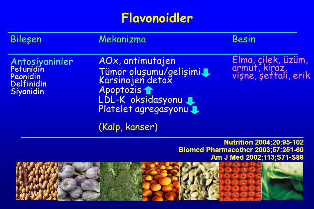 Bileşen Antosiyaninler Petunidin Peonidin Delfinidin Siyanidin Mekanizma AOx, antimutajen Tümör oluşumu/gelişimi Karsinojen detox Apoptozis LDL-K oksidasyonu Platelet agregasyonu (Kalp, kanser) Besin Elma, çilek, üzüm, armut, kiraz, vişne, şeftali, erik Flavonoidler Nutrition 2004;20:95-102 Biomed Pharmacother 2003;57:251-60 Am J Med 2002;113;S71-S88
