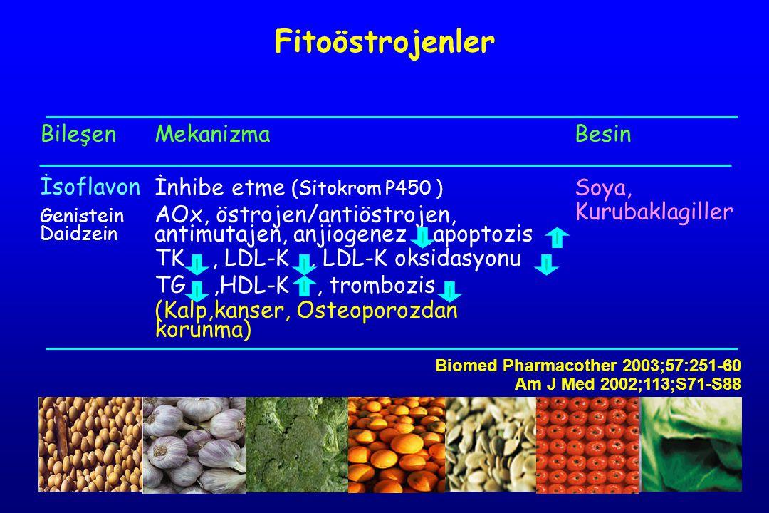 Bileşen İsoflavon Genistein Daidzein Mekanizma İnhibe etme (Sitokrom P450 ) AOx, östrojen/antiöstrojen, antimutajen, anjiogenez,apoptozis TK, LDL-K, L