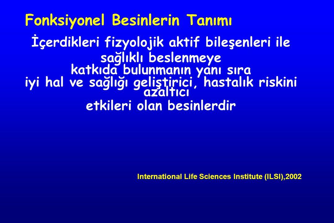 Fonksiyonel Besinlerin Tanımı İçerdikleri fizyolojik aktif bileşenleri ile sağlıklı beslenmeye katkıda bulunmanın yanı sıra iyi hal ve sağlığı geliştirici, hastalık riskini azaltıcı etkileri olan besinlerdir International Life Sciences Institute (ILSI),2002