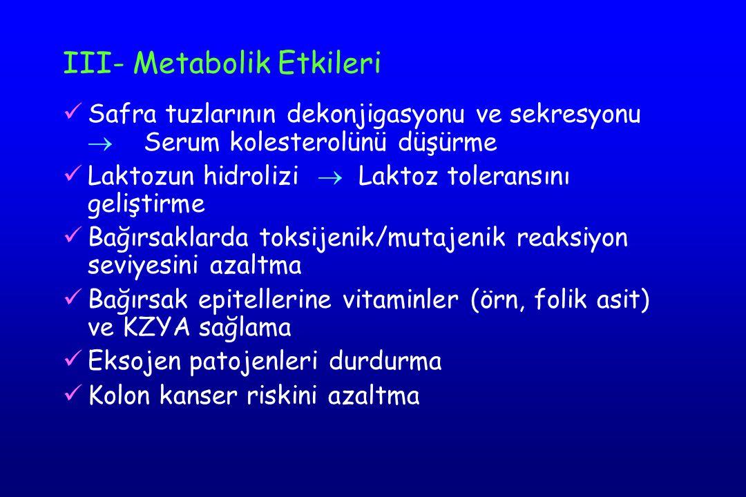 III- Metabolik Etkileri Safra tuzlarının dekonjigasyonu ve sekresyonu  Serum kolesterolünü düşürme Laktozun hidrolizi  Laktoz toleransını geliştirme Bağırsaklarda toksijenik/mutajenik reaksiyon seviyesini azaltma Bağırsak epitellerine vitaminler (örn, folik asit) ve KZYA sağlama Eksojen patojenleri durdurma Kolon kanser riskini azaltma