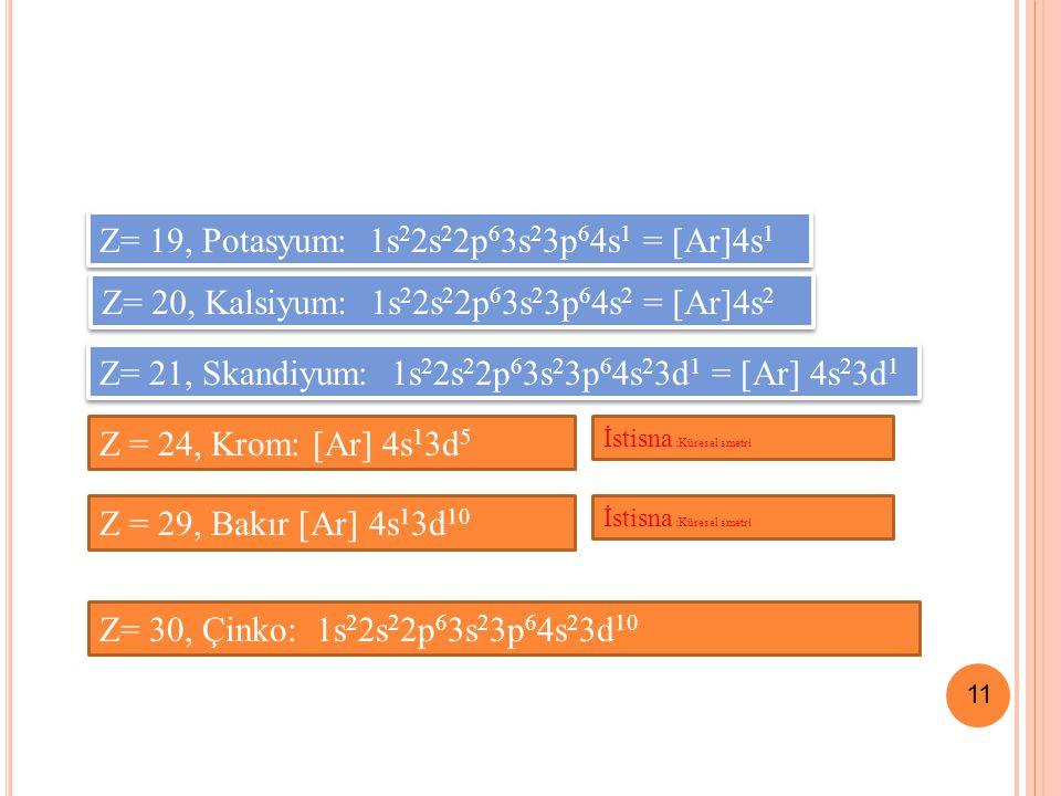 11 Z= 19, Potasyum: 1s 2 2s 2 2p 6 3s 2 3p 6 4s 1 = [Ar]4s 1 Z= 20, Kalsiyum: 1s 2 2s 2 2p 6 3s 2 3p 6 4s 2 = [Ar]4s 2 Z= 21, Skandiyum: 1s 2 2s 2 2p 6 3s 2 3p 6 4s 2 3d 1 = [Ar] 4s 2 3d 1 Z= 30, Çinko: 1s 2 2s 2 2p 6 3s 2 3p 6 4s 2 3d 10 Z = 24, Krom: [Ar] 4s 1 3d 5 İstisna :Küresel smetri Z = 29, Bakır [Ar] 4s 1 3d 10 İstisna :Küresel smetri