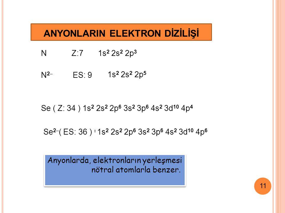 11 ANYONLARIN ELEKTRON DİZİLİŞİ N Z:7 1s 2 2s 2 2p 3 N2–N2– ES: 9 Anyonlarda, elektronların yerleşmesi nötral atomlarla benzer.