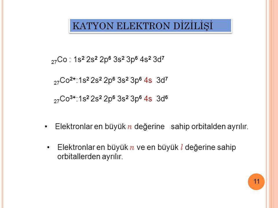 11 KATYON ELEKTRON DİZİLİŞİ Elektronlar en büyük n değerine sahip orbitalden ayrılır.