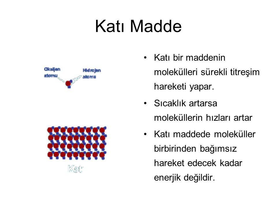 Katı Madde Katı bir maddenin molekülleri sürekli titreşim hareketi yapar. Sıcaklık artarsa moleküllerin hızları artar Katı maddede moleküller birbirin