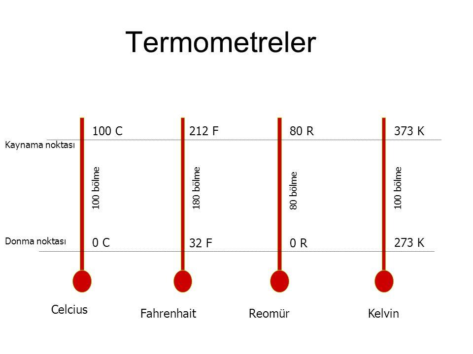 Termometreler Kaynama noktası Donma noktası Celcius FahrenhaitReomürKelvin 100 C 212 F80 R 373 K 0 C 32 F0 R 273 K 100 bölme 80 bölme180 bölme