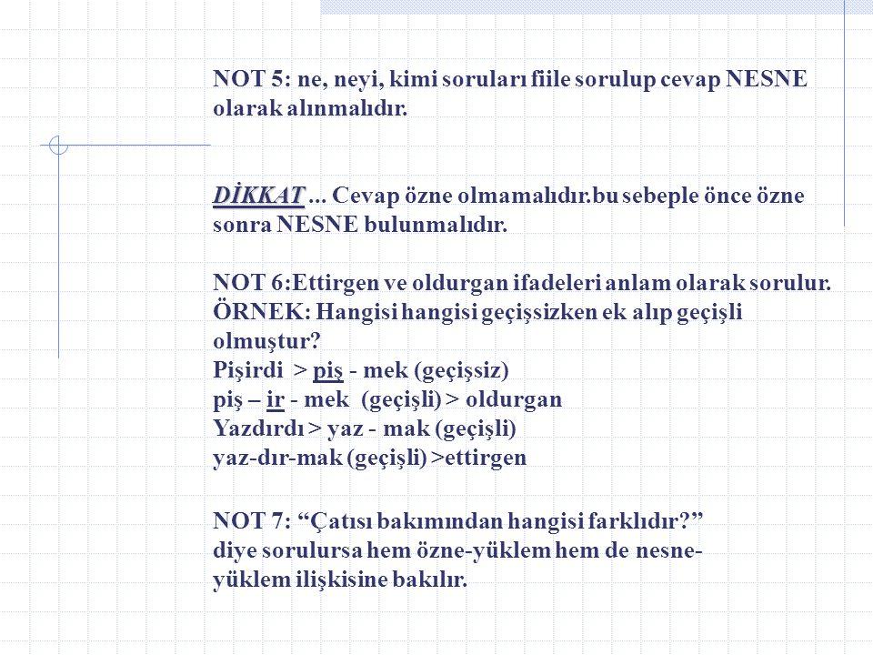 _ GENEL NOTLAR _ NOT 1: Özne çeşitleri: a) Gerçek özne – Ali gel. b) Sözde özne – Bulaşık yıkandı. c) Gizli özne – Buraya gel. ( kim? O ) NOT 2: Edilg