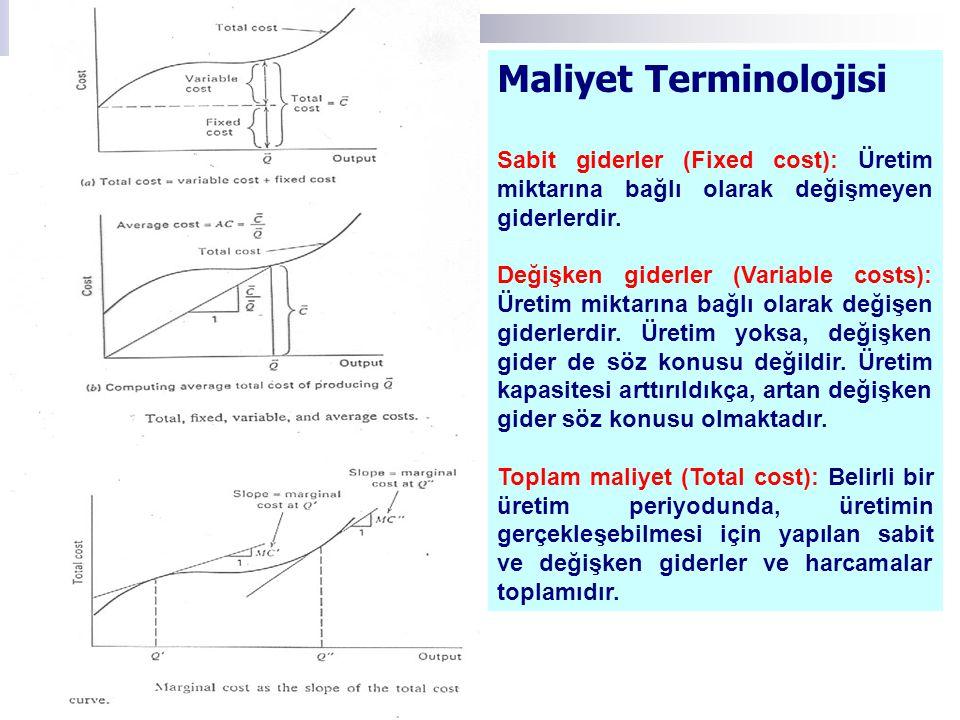 Maliyet Terminolojisi Sabit giderler (Fixed cost): Üretim miktarına bağlı olarak değişmeyen giderlerdir. Değişken giderler (Variable costs): Üretim mi