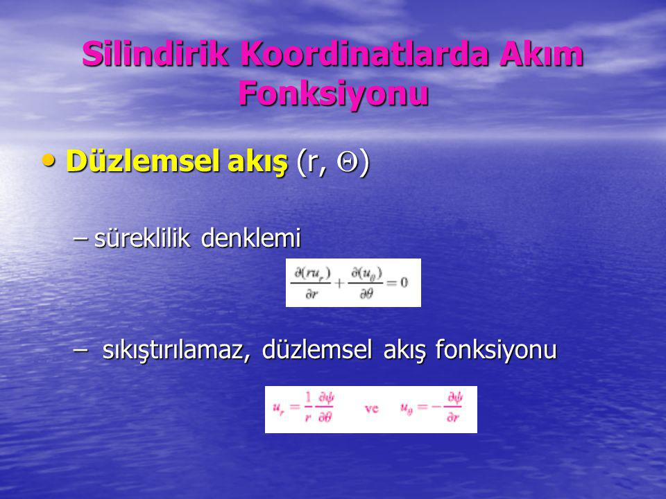 Silindirik Koordinatlarda Akım Fonksiyonu Düzlemsel akış (r,  ) Düzlemsel akış (r,  ) –süreklilik denklemi – sıkıştırılamaz, düzlemsel akış fonksiyo