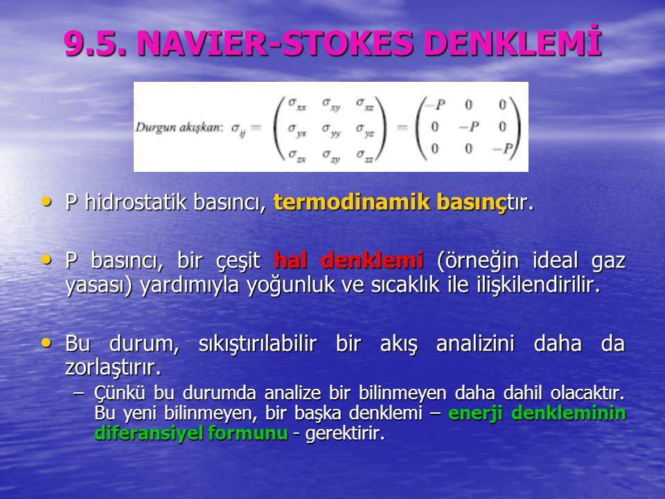 9.5. NAVIER-STOKES DENKLEMİ P hidrostatik basıncı, termodinamik basınçtır. P hidrostatik basıncı, termodinamik basınçtır. P basıncı, bir çeşit hal den