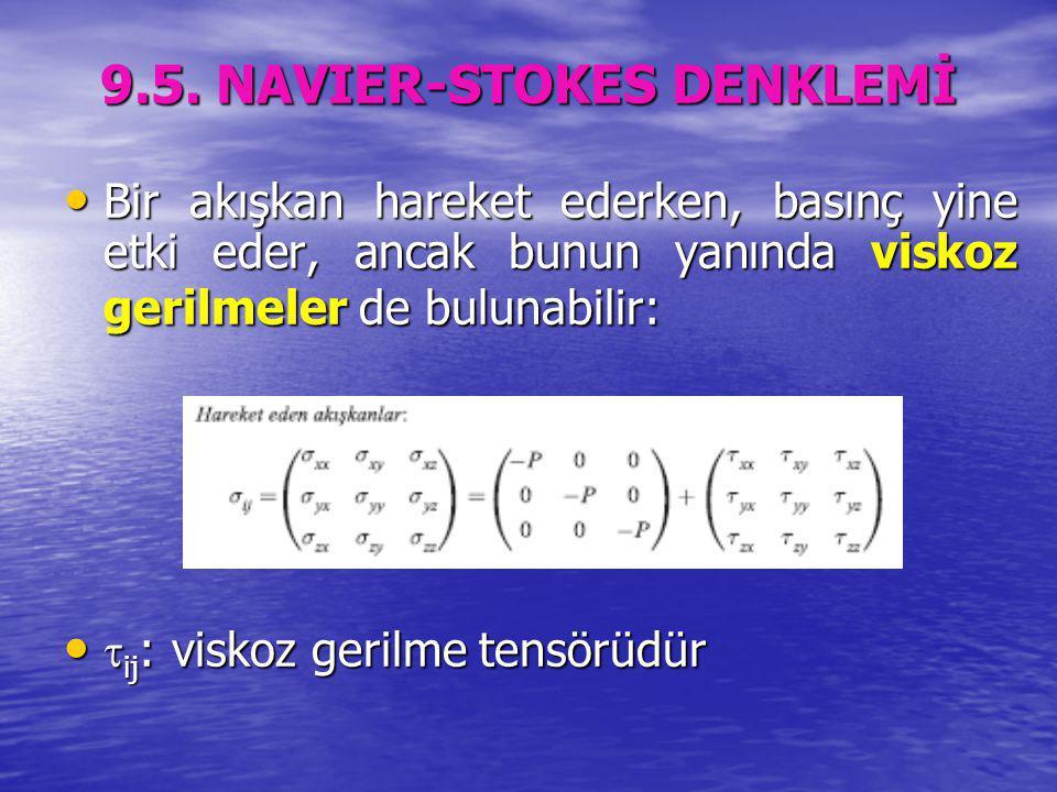 9.5. NAVIER-STOKES DENKLEMİ Bir akışkan hareket ederken, basınç yine etki eder, ancak bunun yanında viskoz gerilmeler de bulunabilir: Bir akışkan hare