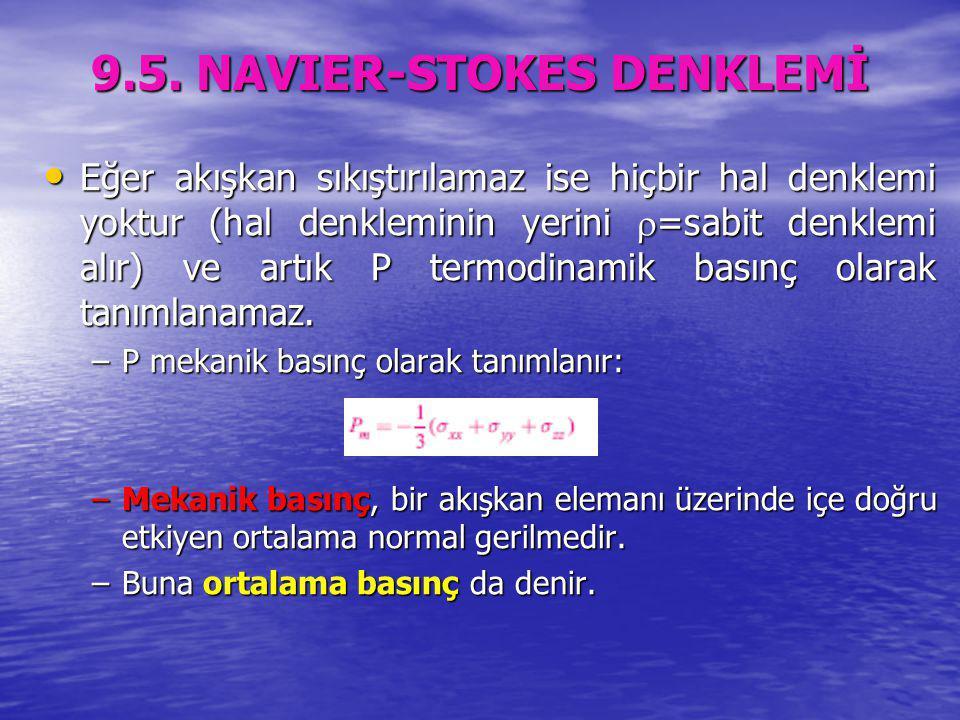 9.5. NAVIER-STOKES DENKLEMİ Eğer akışkan sıkıştırılamaz ise hiçbir hal denklemi yoktur (hal denkleminin yerini  =sabit denklemi alır) ve artık P term