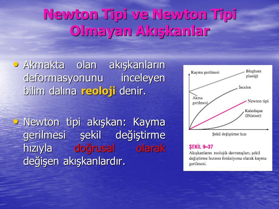 Newton Tipi ve Newton Tipi Olmayan Akışkanlar Akmakta olan akışkanların deformasyonunu inceleyen bilim dalına reoloji denir. Akmakta olan akışkanların