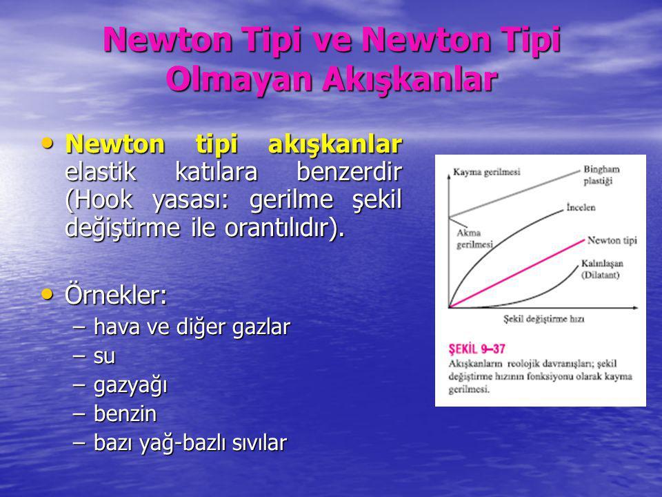 Newton Tipi ve Newton Tipi Olmayan Akışkanlar Newton tipi akışkanlar elastik katılara benzerdir (Hook yasası: gerilme şekil değiştirme ile orantılıdır