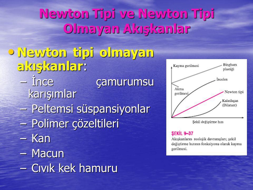 Newton Tipi ve Newton Tipi Olmayan Akışkanlar Newton tipi olmayan akışkanlar: Newton tipi olmayan akışkanlar: – İnce çamurumsu karışımlar – Peltemsi s