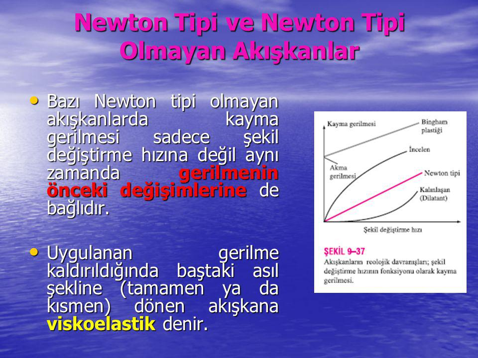 Newton Tipi ve Newton Tipi Olmayan Akışkanlar Bazı Newton tipi olmayan akışkanlarda kayma gerilmesi sadece şekil değiştirme hızına değil aynı zamanda