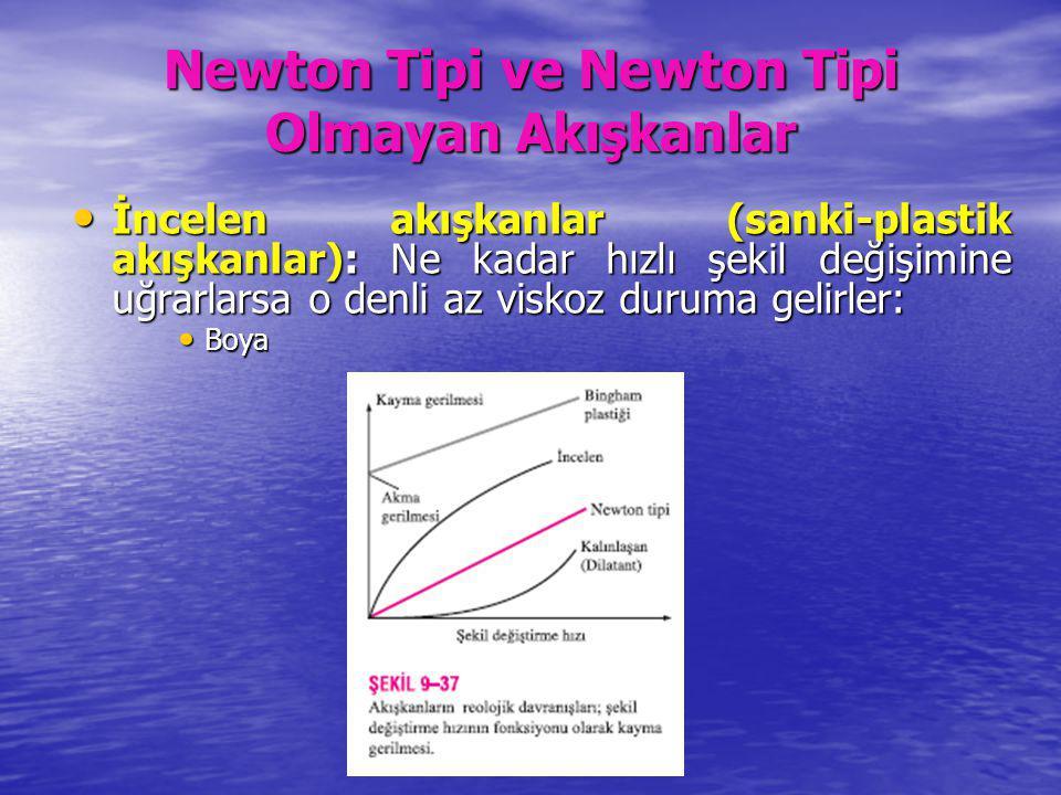 Newton Tipi ve Newton Tipi Olmayan Akışkanlar İncelen akışkanlar (sanki-plastik akışkanlar): Ne kadar hızlı şekil değişimine uğrarlarsa o denli az vis