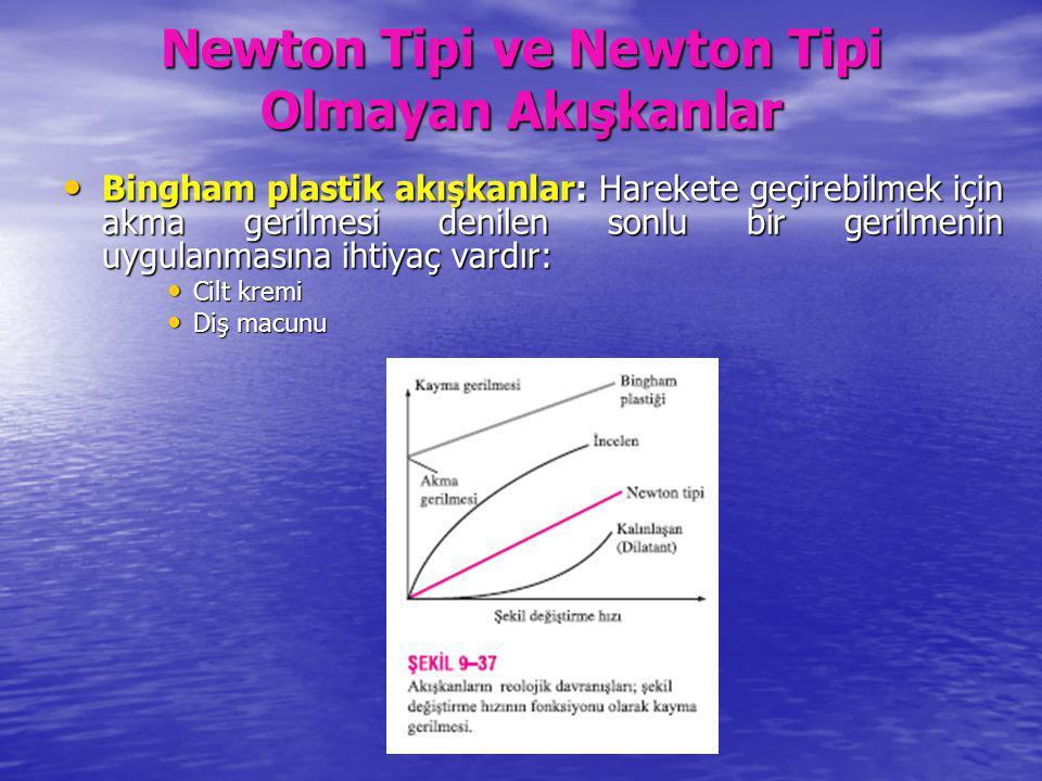 Newton Tipi ve Newton Tipi Olmayan Akışkanlar Bingham plastik akışkanlar: Harekete geçirebilmek için akma gerilmesi denilen sonlu bir gerilmenin uygul