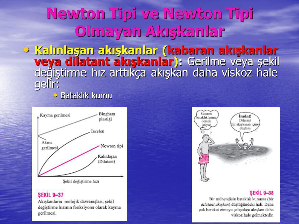 Newton Tipi ve Newton Tipi Olmayan Akışkanlar Kalınlaşan akışkanlar (kabaran akışkanlar veya dilatant akışkanlar): Gerilme veya şekil değiştirme hız a
