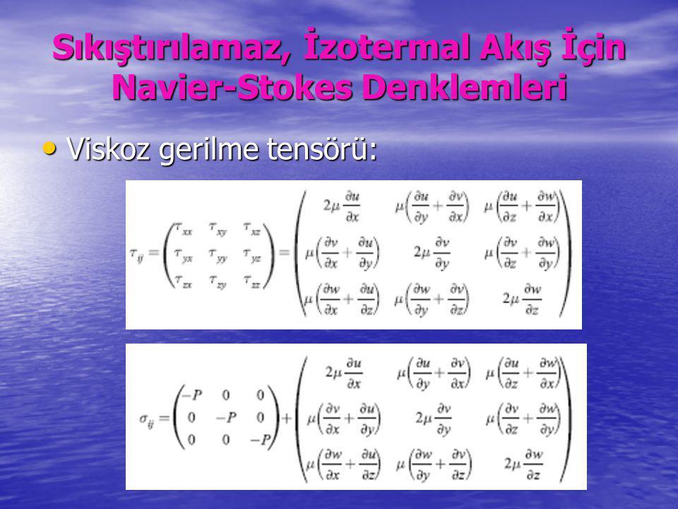 Sıkıştırılamaz, İzotermal Akış İçin Navier-Stokes Denklemleri Viskoz gerilme tensörü: Viskoz gerilme tensörü: