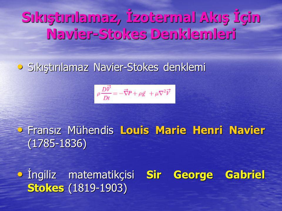 Sıkıştırılamaz, İzotermal Akış İçin Navier-Stokes Denklemleri Sıkıştırılamaz Navier-Stokes denklemi Sıkıştırılamaz Navier-Stokes denklemi Fransız Mühe