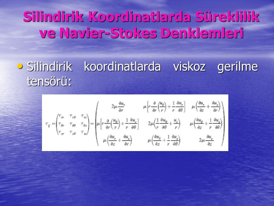 Silindirik koordinatlarda viskoz gerilme tensörü: Silindirik koordinatlarda viskoz gerilme tensörü: