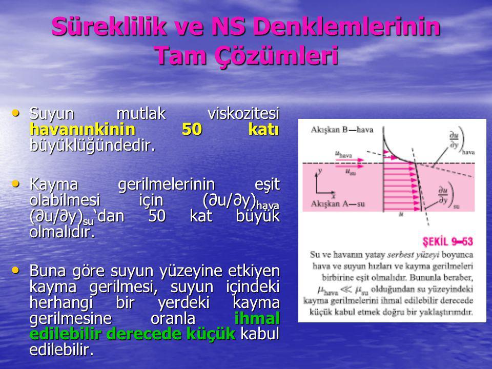 Süreklilik ve NS Denklemlerinin Tam Çözümleri Suyun mutlak viskozitesi havanınkinin 50 katı büyüklüğündedir. Suyun mutlak viskozitesi havanınkinin 50