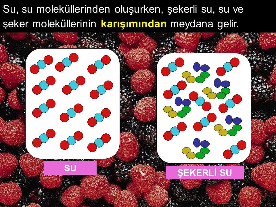 Su, su moleküllerinden oluşurken, şekerli su, su ve şeker moleküllerinin karışımından meydana gelir. SUŞEKERLİ SU