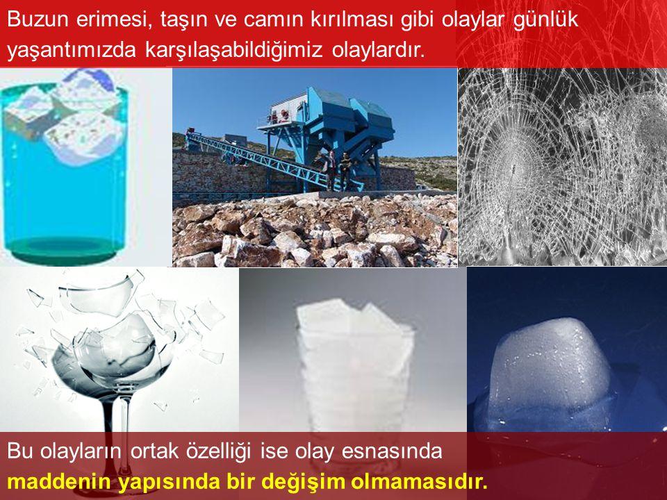 Buzun erimesi, taşın ve camın kırılması gibi olaylar günlük yaşantımızda karşılaşabildiğimiz olaylardır. Bu olayların ortak özelliği ise olay esnasınd