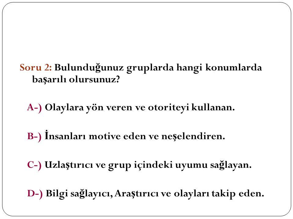 Soru 2: Bulundu ğ unuz gruplarda hangi konumlarda ba ş arılı olursunuz.